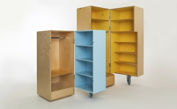 Xobo Furniture Oyster Bambino and Minimale wardrobes open